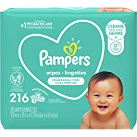 Baby Wipes, Pampers Complete Clean UNSCENTED 3X Pop-Top, Hypoallergenic and Dermatologist-Tested, 216 Count (Packaging…