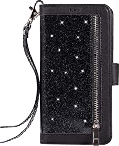 For Huawei P30 pro Leather case,Glitter Faux PU Magnetic Closure Multi-Credit Card Slot Cash Holder Protective case Detachable 2 in 1 Wallet Cover with Wrist Strap