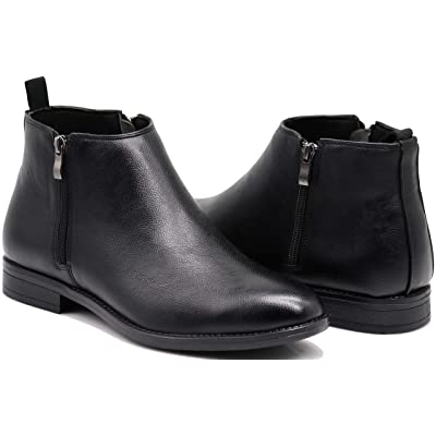 SK Men's Leather Chelsea Boots Dress Fashion Slip On Classic Ankle Boots (10, 02 Black) | Chelsea