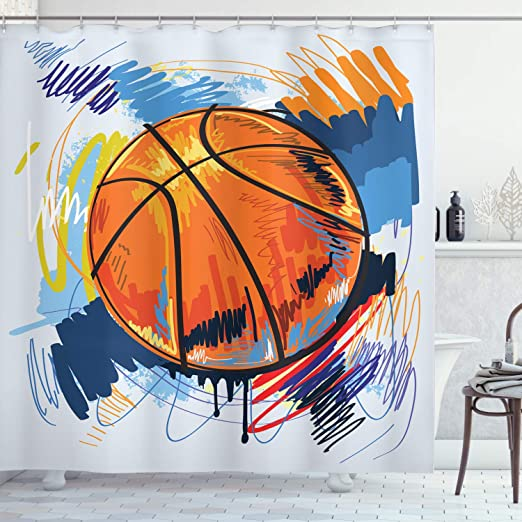 Amazon Com Ambesonne Sports Shower Curtain Basketball Colorful