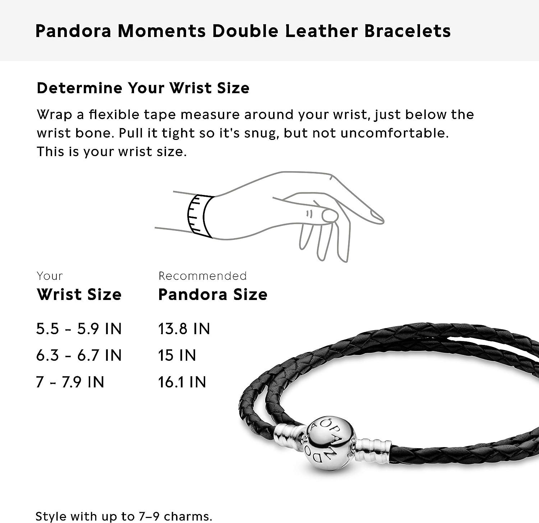 Pandora Jewelry Black Leather Charm Sterling Silver Bracelet Size 16 1 Amazon Co Uk Jewellery