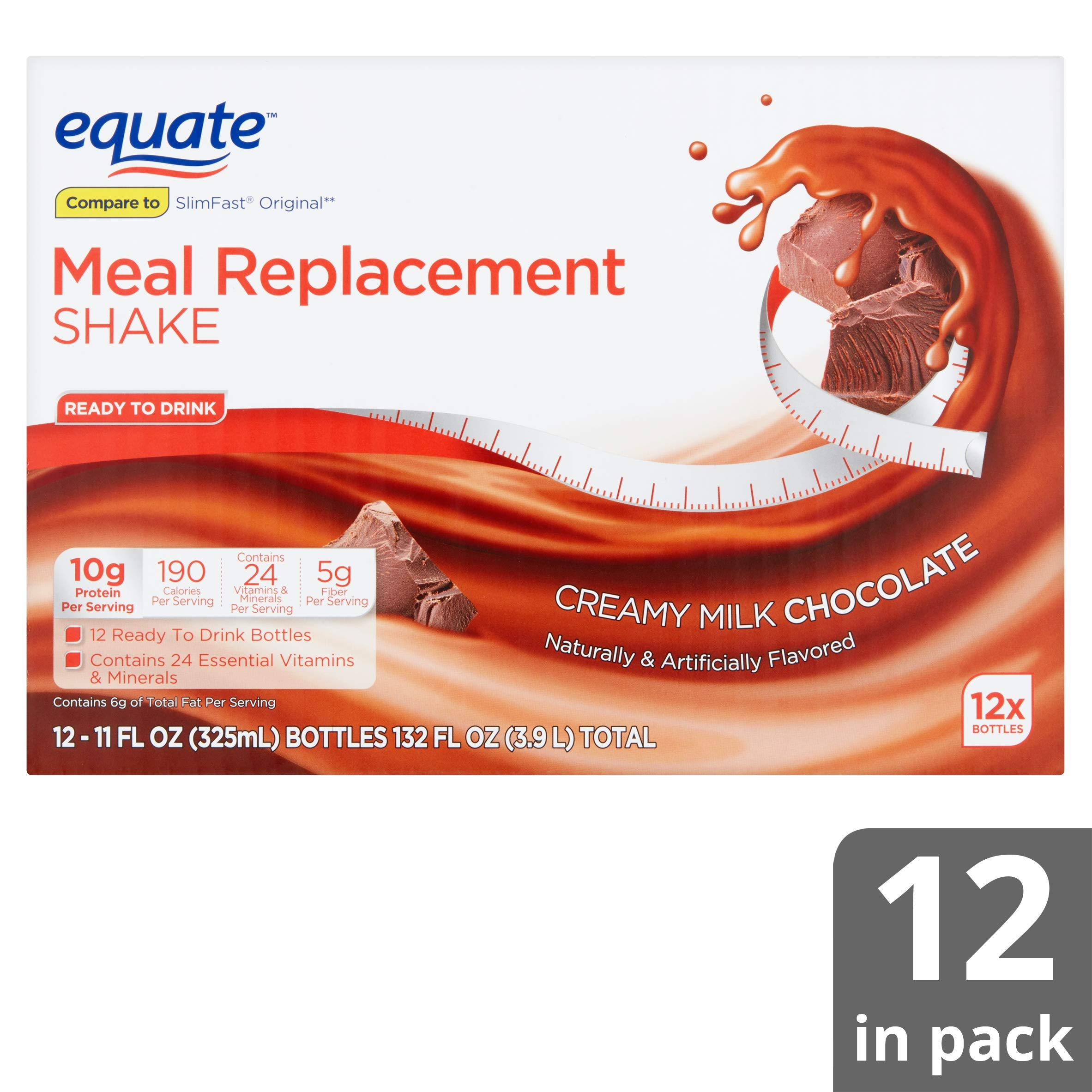 Equate Meal Replacement Shake, Creamy Milk Chocolate, 11 fl oz, 12 Count (Pack of 6) by Equate's (Image #1)