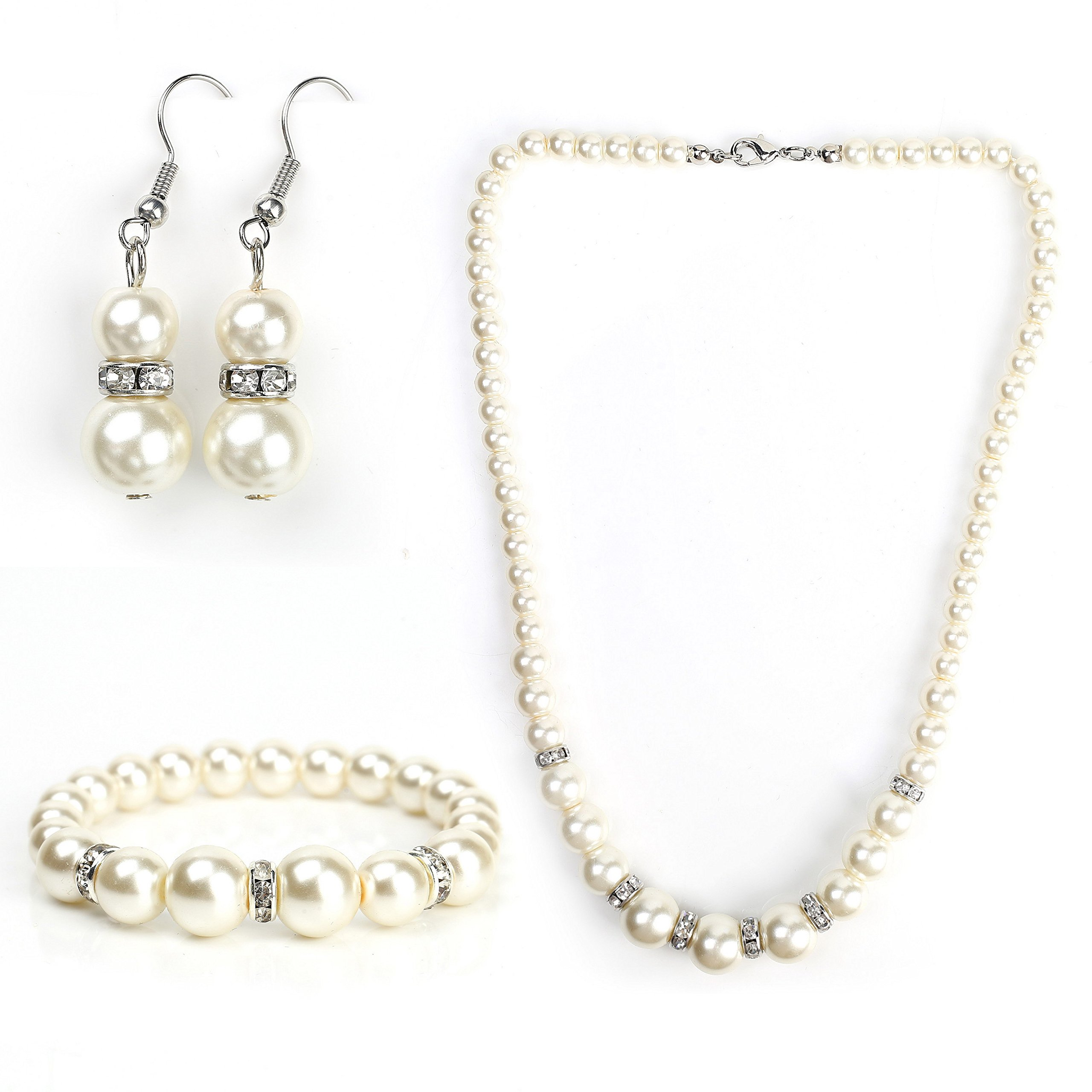 United Elegance Classic Faux Pearl Set - Graduated Necklace, Drop Earrings and Coordinating Bracelet with Swarovski Style Crystals