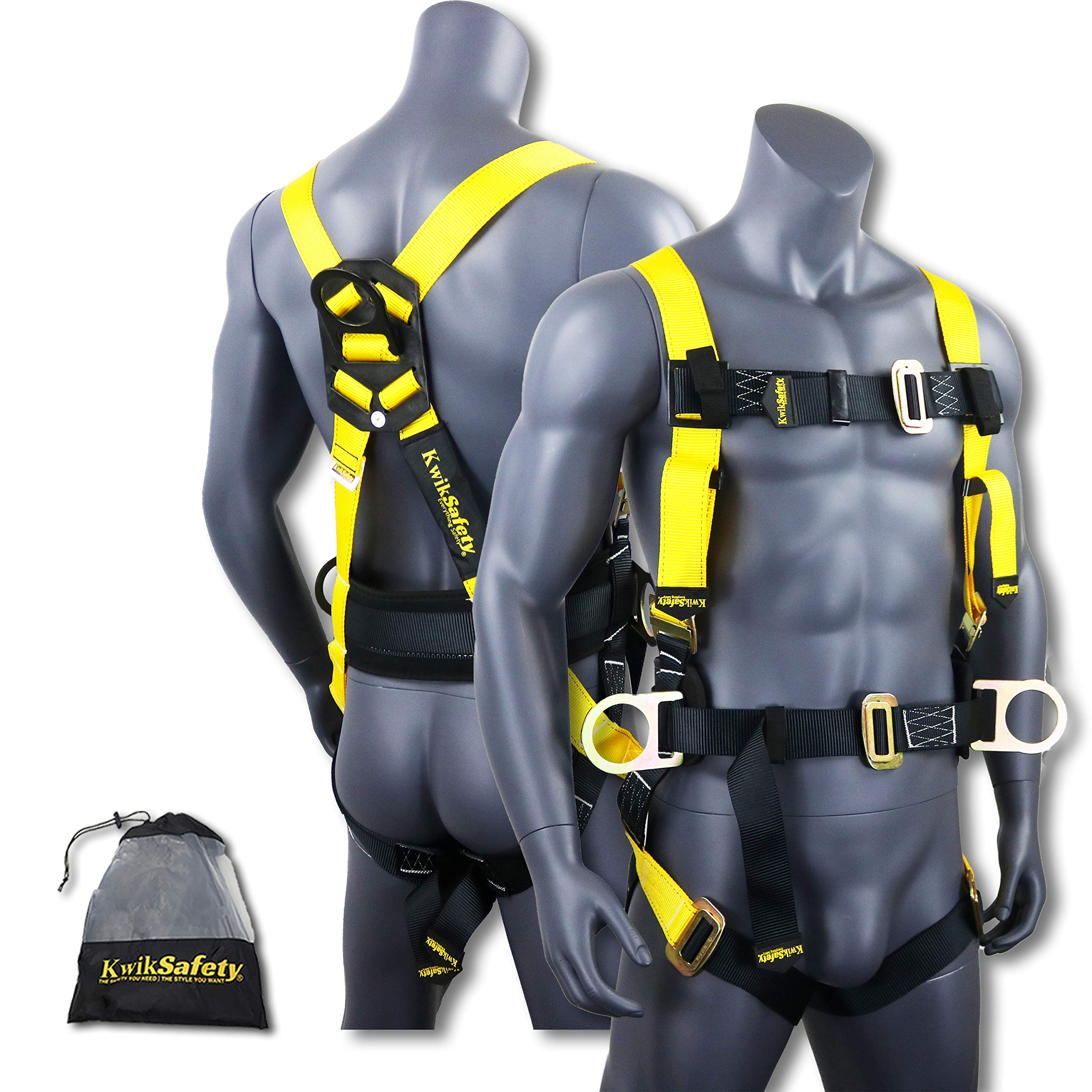 KwikSafety HURRICANE | OSHA ANSI Fall Protection Full Body Safety Harness w/Back Support | Personal Protective Equipment | Dorsal Ring Side D-Rings | Universal Construction Industrial Roofing Tool by KwikSafety (Image #1)