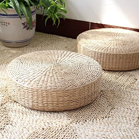 3BEES® Japanese Style Handcrafted Eco Friendly Breathable Padded Knitted  Straw Flat Seat Cushion,