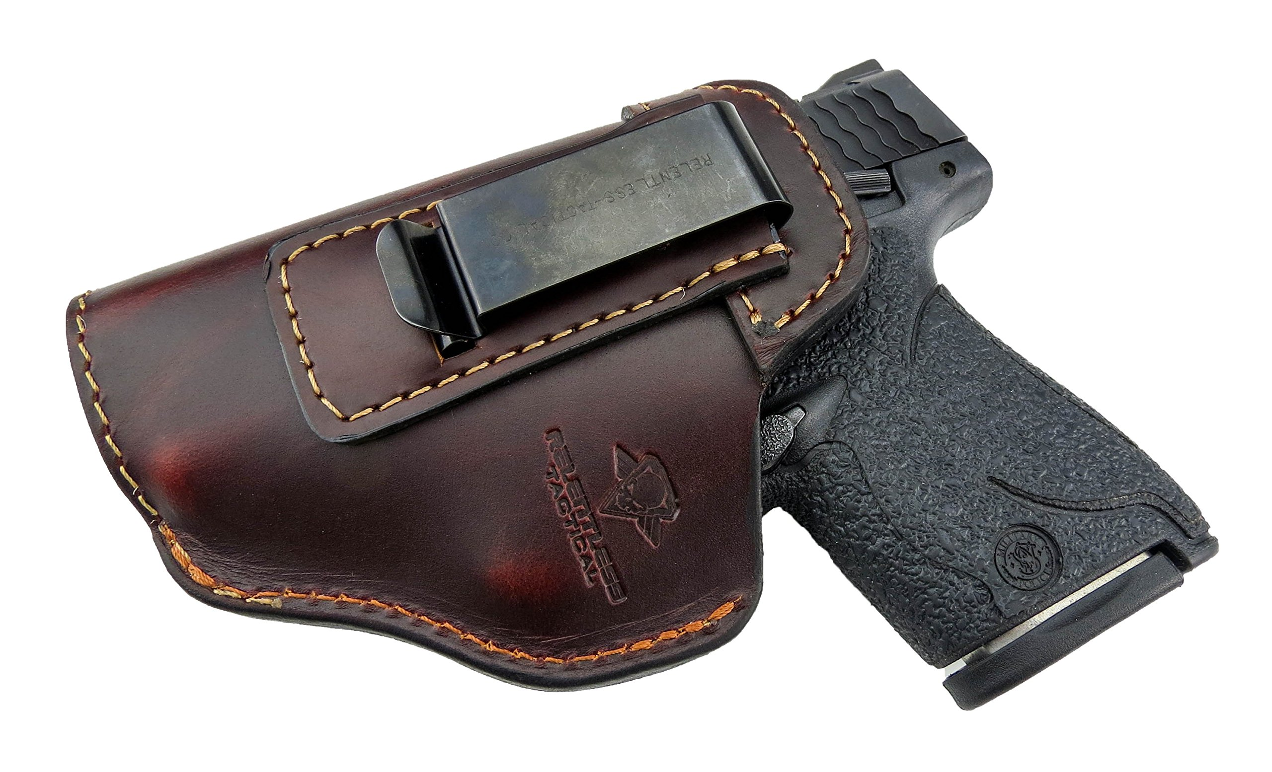 Relentless Tactical The Defender Leather IWB Holster - Made in USA - for S&W M&P Shield - Glock 17 19 22 23 32 33 / Springfield XD & XDS/Plus All Similar Sized Handguns - Brown - Left Handed by Relentless Tactical