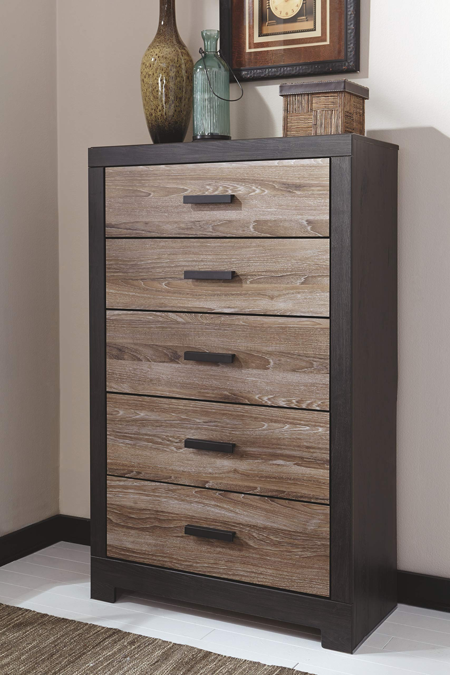 Ashley Furniture Signature Design - Harlinton Chest of Drawers - 5 Drawer Dresser - Contemporary Vintage - Warm Gray & Charcoal by Signature Design by Ashley (Image #2)