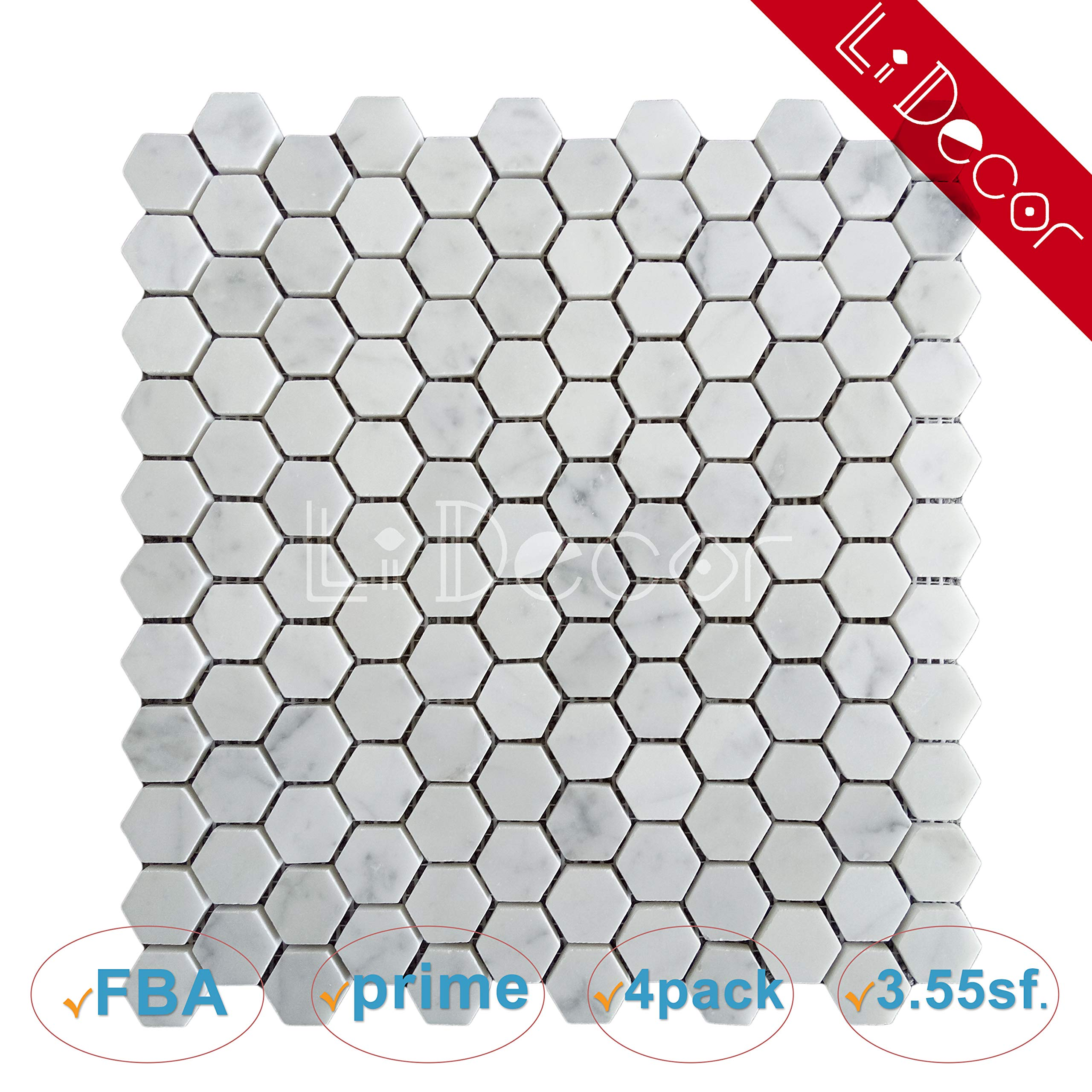 Italian Carrara Hexagon 1in Marble Tiles Honed