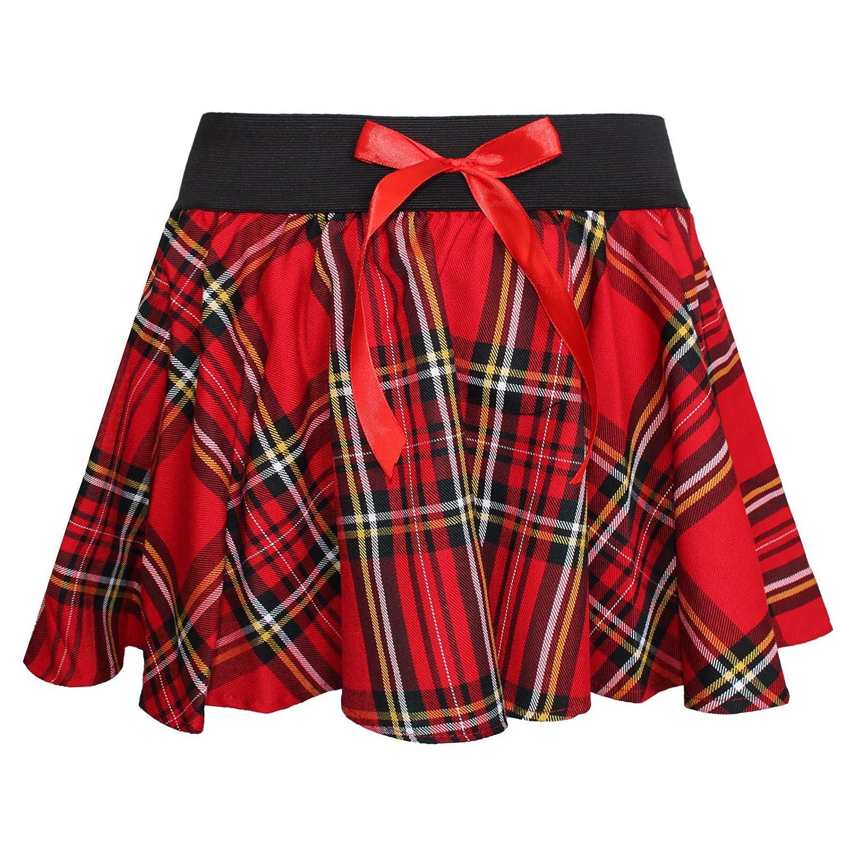 Girls Mini Bow Tartan Skirt 5-10 Years (Black and White) Crazy Chick GT0303