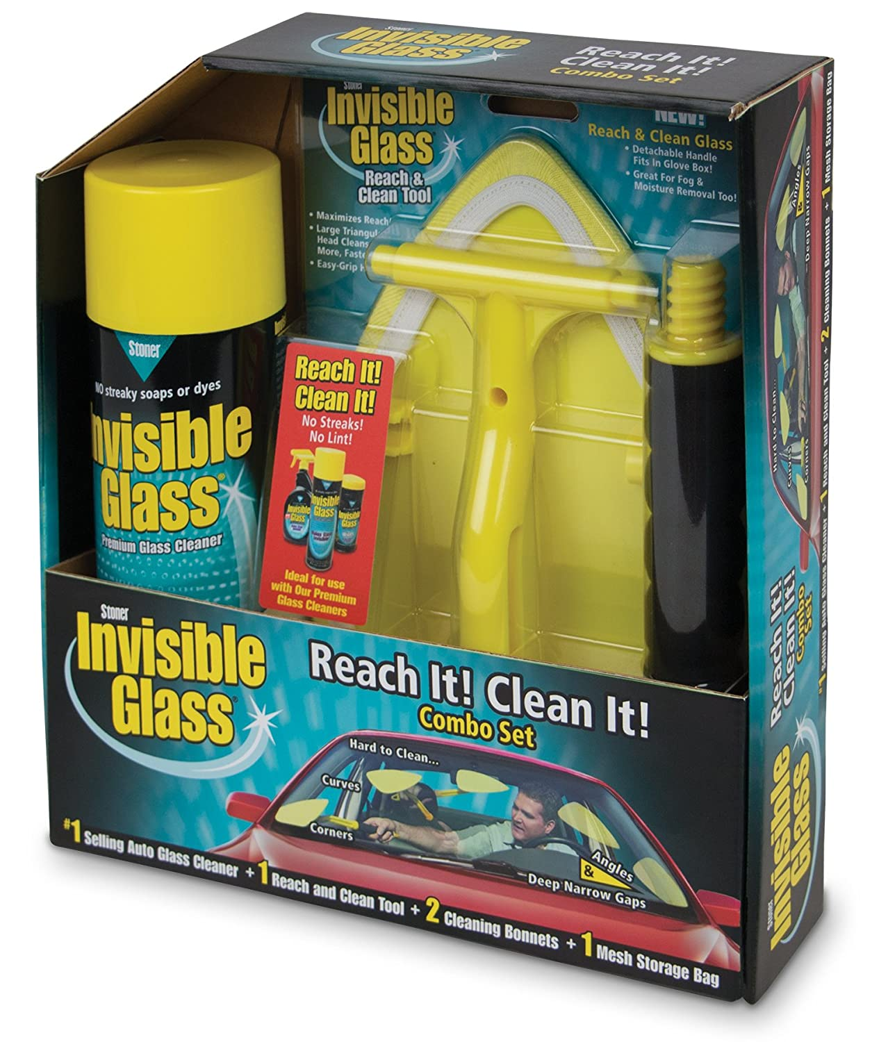 Invisible Glass 99031 Reach and Clean Tool Combo Kit - Window Wand Glass Cleaning Tool for Windshields, Invisible Glass Cleaner for Auto Glass, Clean and Reach Tool for Hard-to-Reach Places