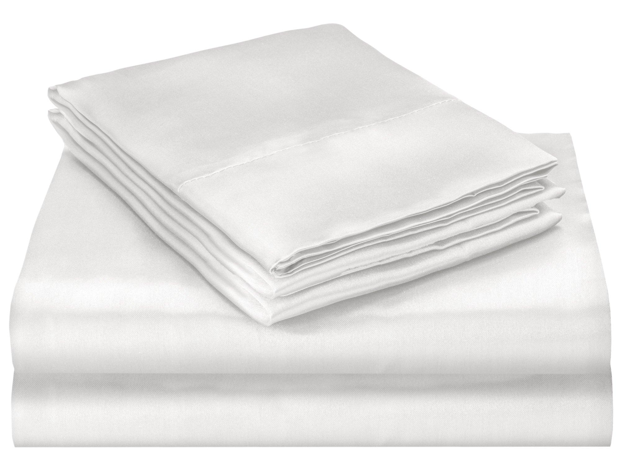 Elaine Karen Soft Silky Satin Queen Bed Sheet Set, White