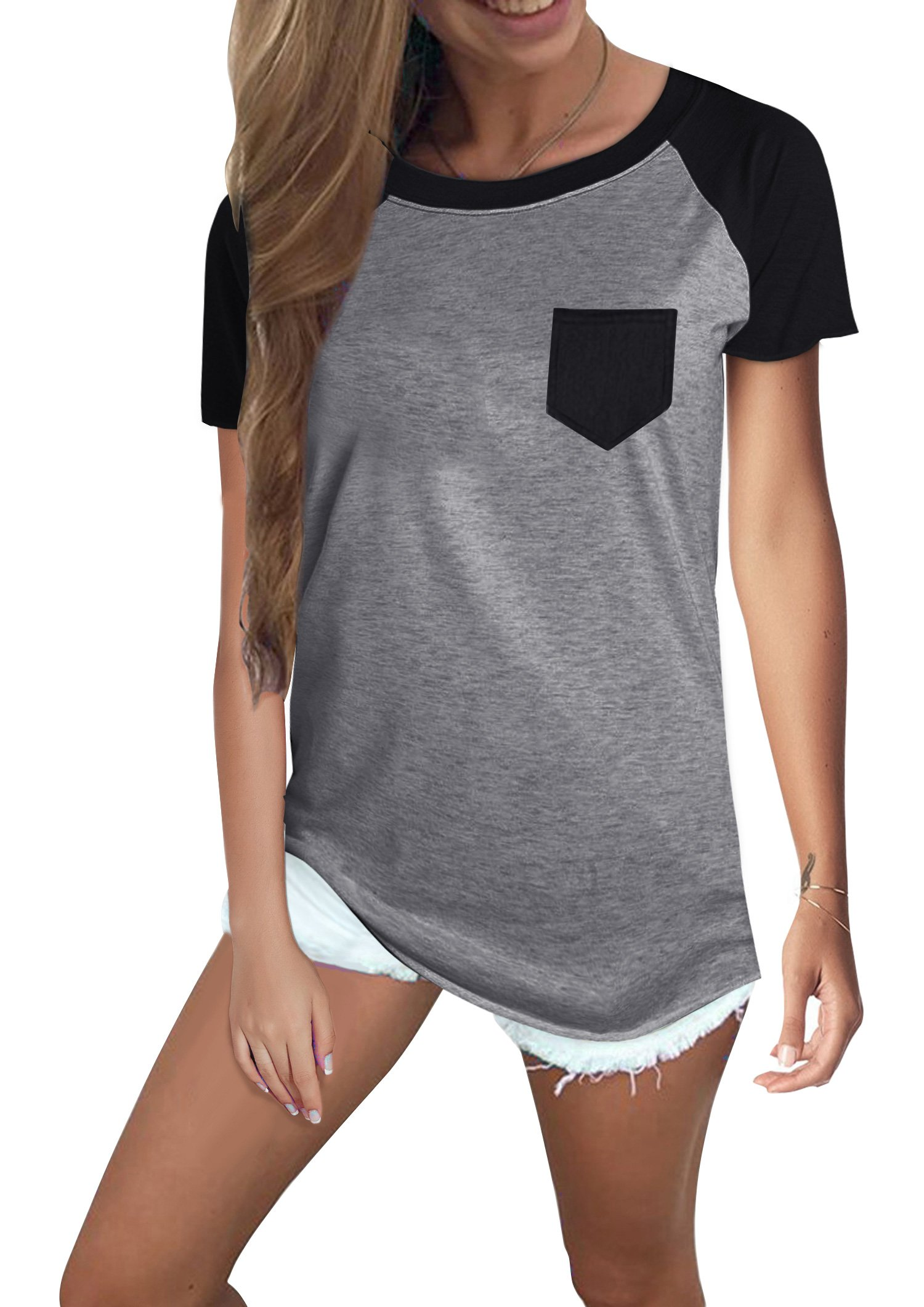 Yidarton Women's T-Shirt Casual Short Sleeve Round Neck Blouse Color Block Tops with Pocket (Grey, X-Large)