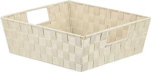 Home Basics PB49147 Non-Woven Strap Bin, Large, Ivory