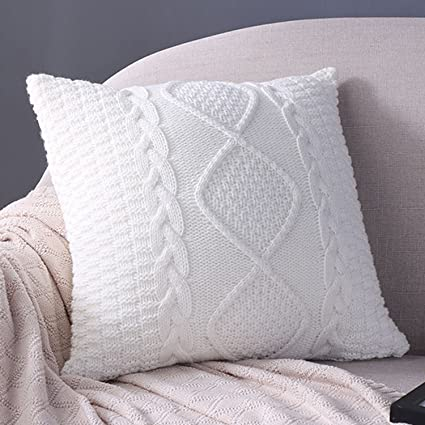 Amazon Sanifer Cable Knit Pillow Covers 40x40 Decorative Pillow Inspiration How To Knit Pillow Covers