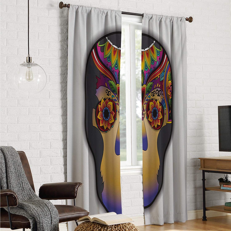 Mozenou - Cortinas para Puerta corredera con diseño de Corazones y Calavera con alas de águila y símbolo de San Valentín, Color Negro, Blanco y Rojo, 213 x 213 cm: Amazon.es: Hogar