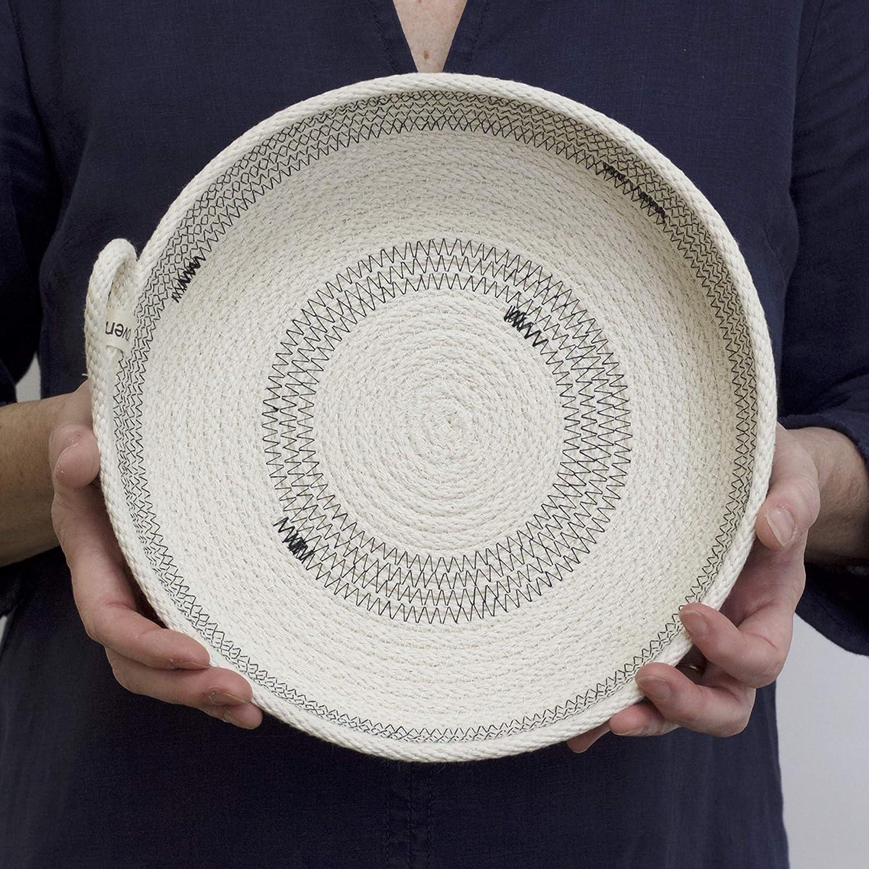 "Woven Grey Round Organizing Basket — 10"""