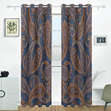 JSTEL Vintage Paisley Curtains Drapes Panels Darkening Blackout Grommet Room Divider For Patio Window Sliding Glass