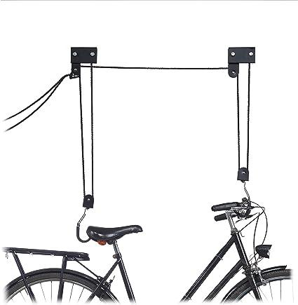 Relaxdays Colgador Bicicleta Techo, Metal, Negro, Hasta 57 kg ...