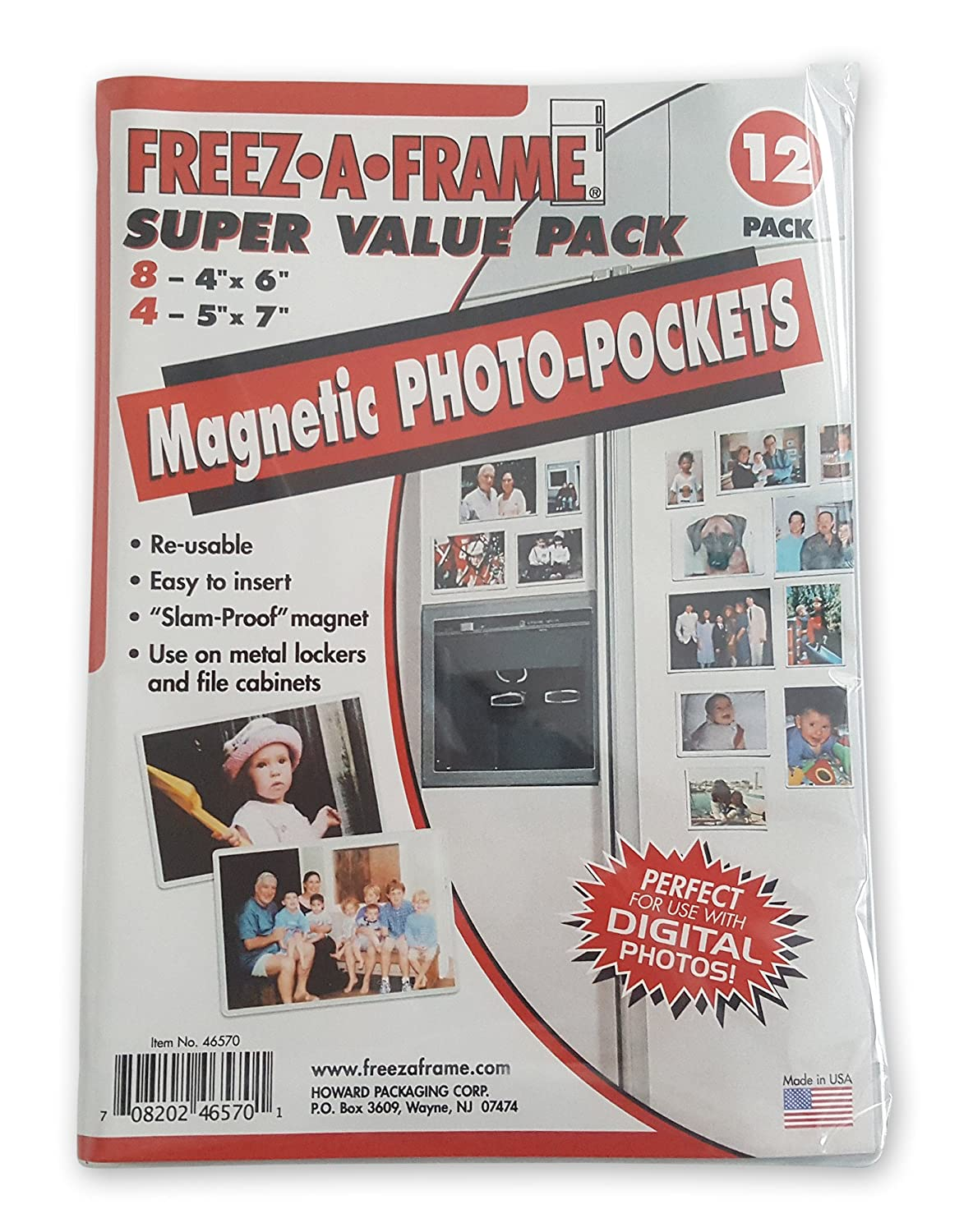 FREEZ-A-FRAME Magnetic Photo Picture Frame, White, Contains Eight 4 ...