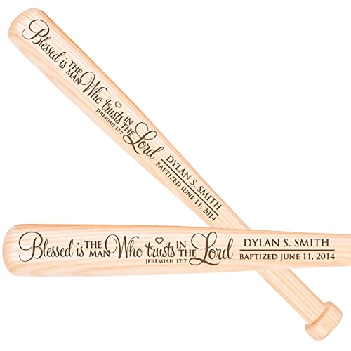 Personalized Baptism 1st holy Communion Custom Christening Baseball bat Gift Blessed is The Man Who Trusts in The Lord Jeremiah 17 7 18 L X 1.75