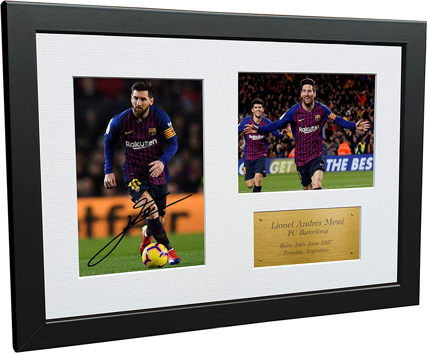 Kitbags /& Lockers 12x8 FC Lionel Messi Barcelona Signed Autographed Photo Photograph Picture Frame Soccer Gift A4