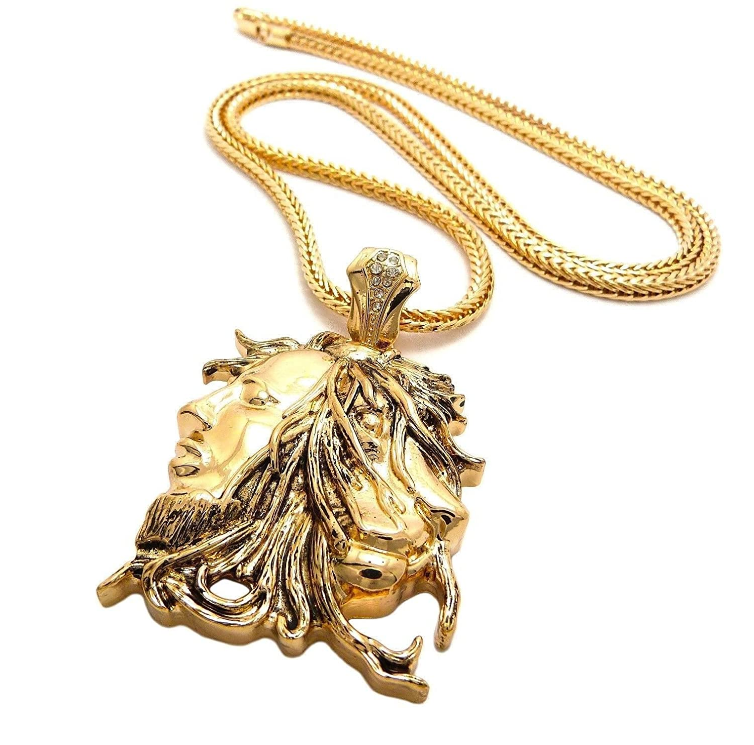 yellow pendant chain afec rope gold and inch lion ebay itm
