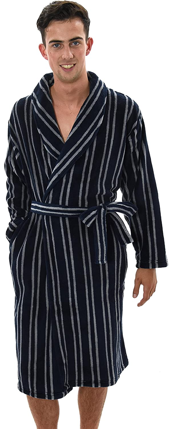 Mens Knee Length Fleece Wrapover Dressing Gowns, Black or Navy and Stripes, Small to XX Large Navy Stripe