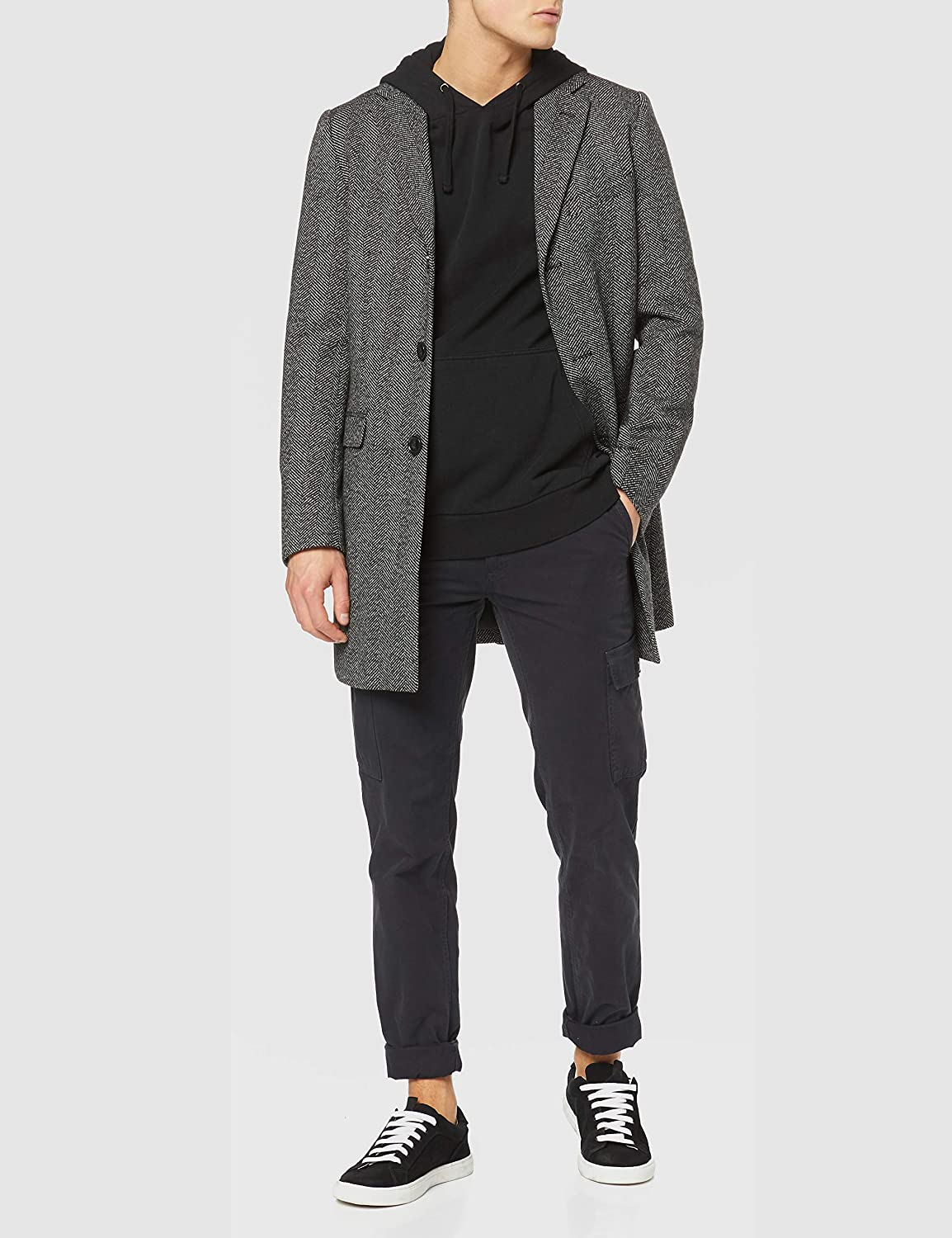 Brand find Mens Single Breasted Wool Mix Coat