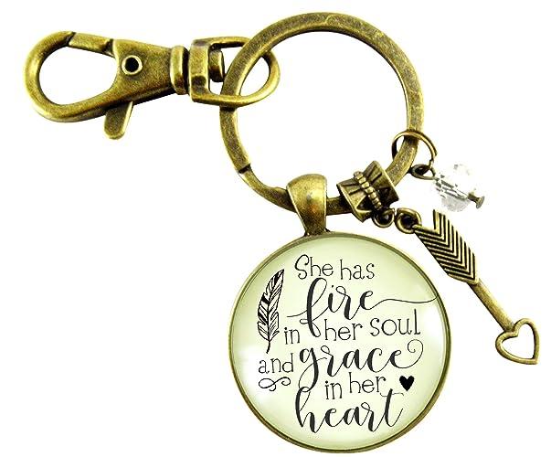 Amazoncom She Has Fire In Her Soul Keychain Grace In Heart Glam