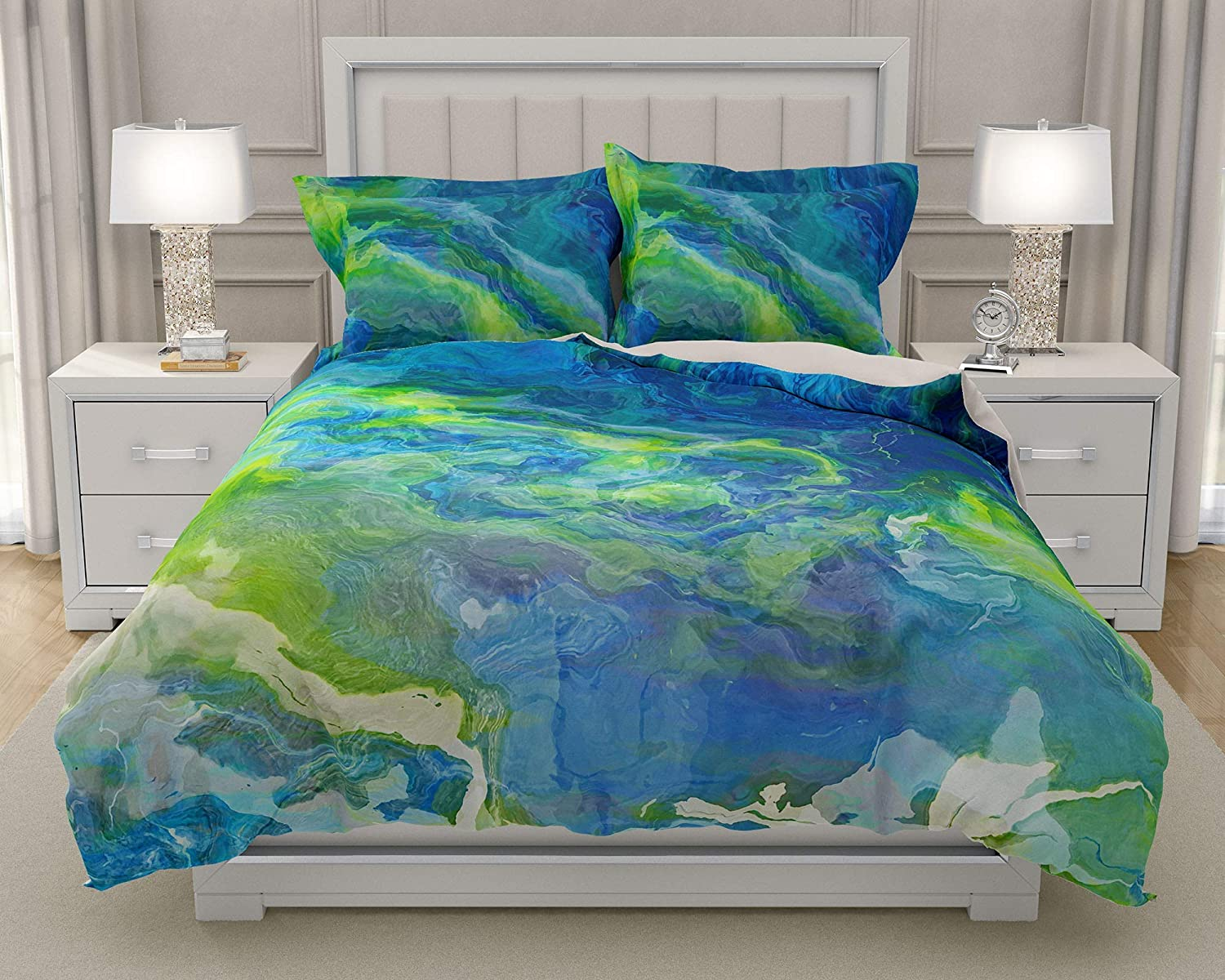 Image of Home and Kitchen King or Queen 3 pc Duvet Cover Set with abstract art, River Dream