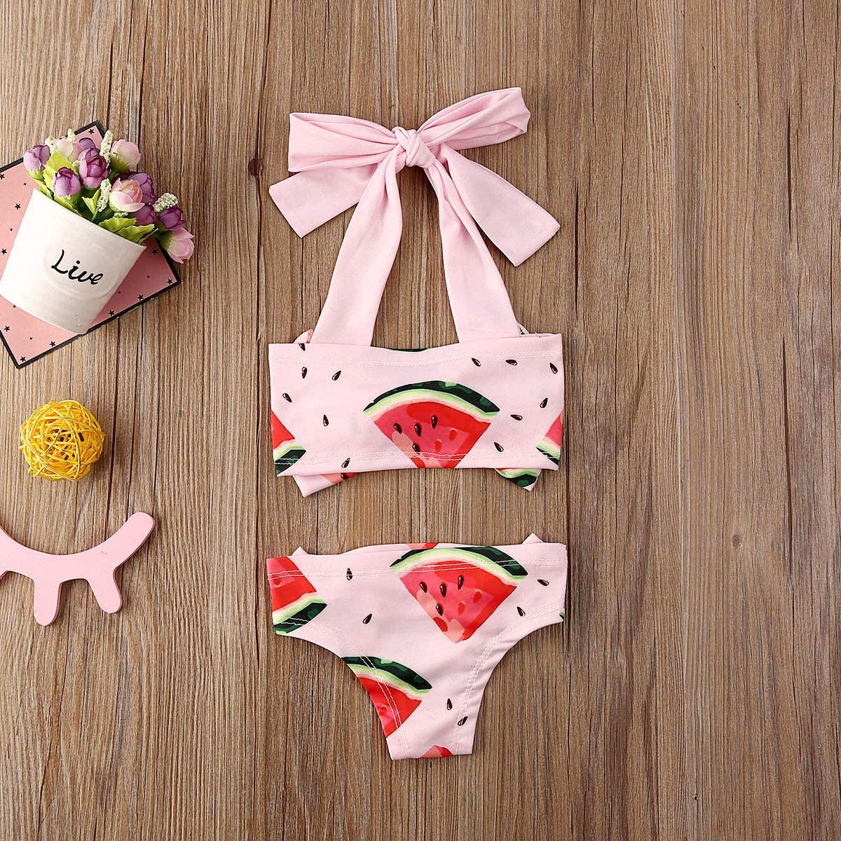 Cute Watermelon Print Baby Girls 2Pcs Bikini Bathing Swimsuit Halter Tube Tops Floral Bottoms Summer Sunsuit