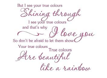 True Colours Cyndi Lauper Music Lyrics Wall Art Vinyl ...
