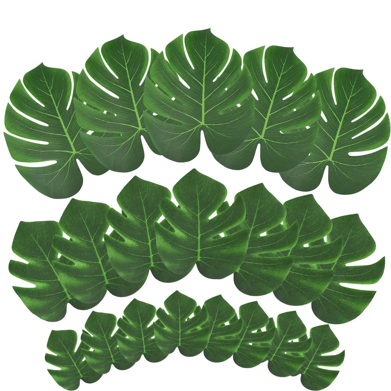 Sunm boutique 60 Pcs Artificial Plants Turtle Leaf Artificial Tropical Palm Leaves and Hibiscus Flower Artificial Green Plants Home Garden Decoration