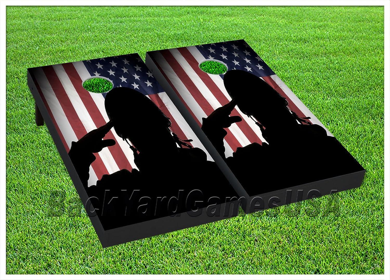 ビニールラップCornholeボードデカールHero US Flag bagtossゲームステッカー361 B076YHXHV1