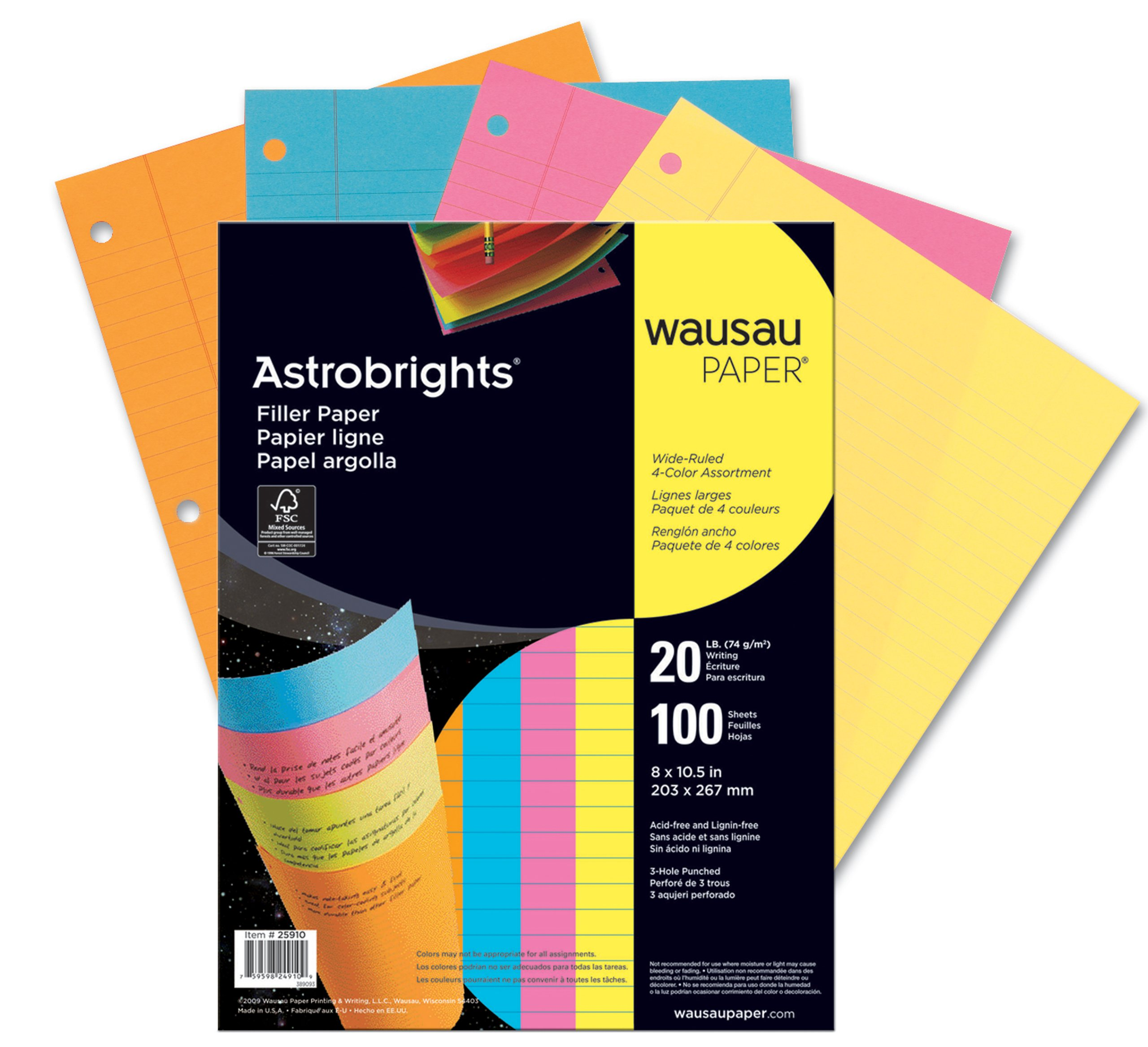Wausau Astrobrights Wide Ruled Filler Paper Assortment, 100 Count, 8 X 10.5 Inches (25910) by Astrobrights (Image #3)