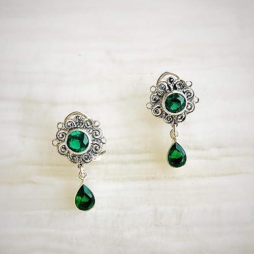 en venta c795c d30af Aretes Coronita circonia verde esmeralda, joyería mujer plata ...