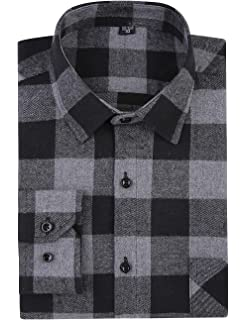 ERZTIAY Mens Button Down Regular Fit Long Sleeve Plaid Flannel Casual Shirts