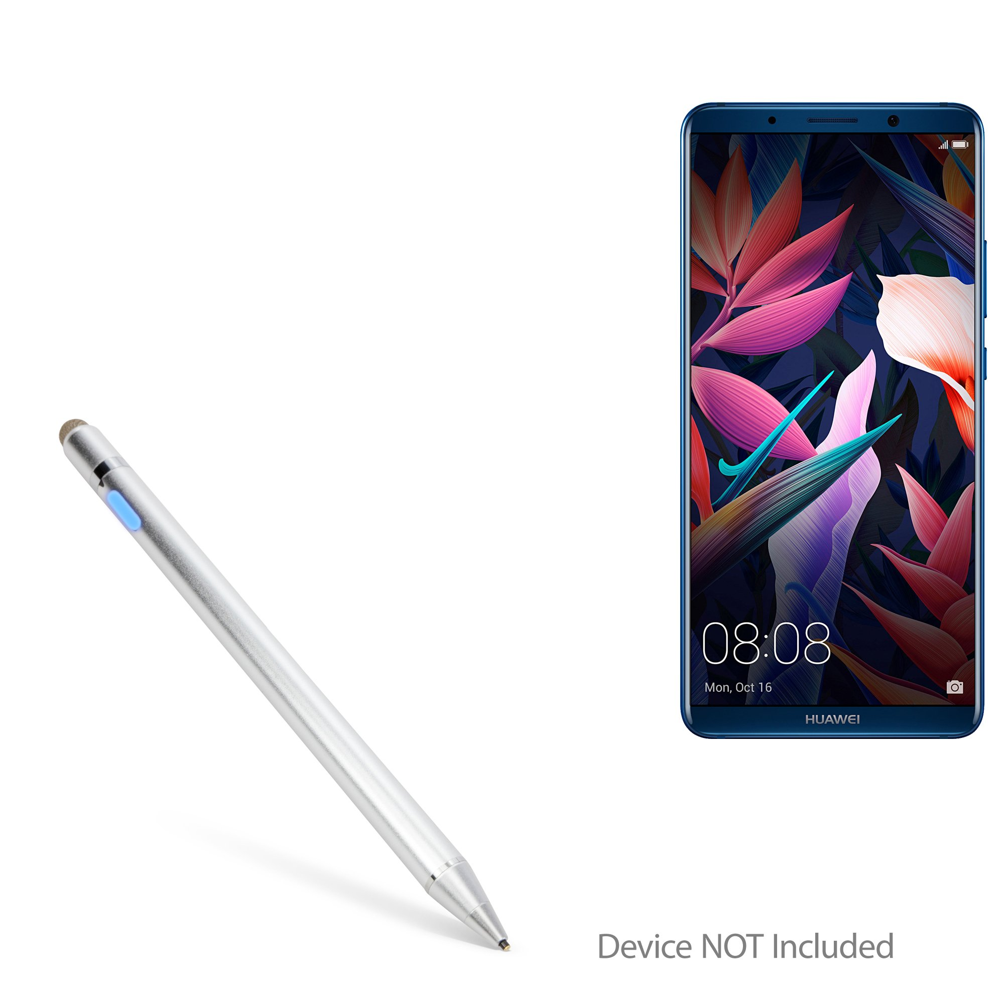 Huawei Mate 10 Pro Stylus Pen, BoxWave [AccuPoint Active Stylus] Electronic Stylus with Ultra Fine Tip for Huawei Mate 10 Pro - Metallic Silver