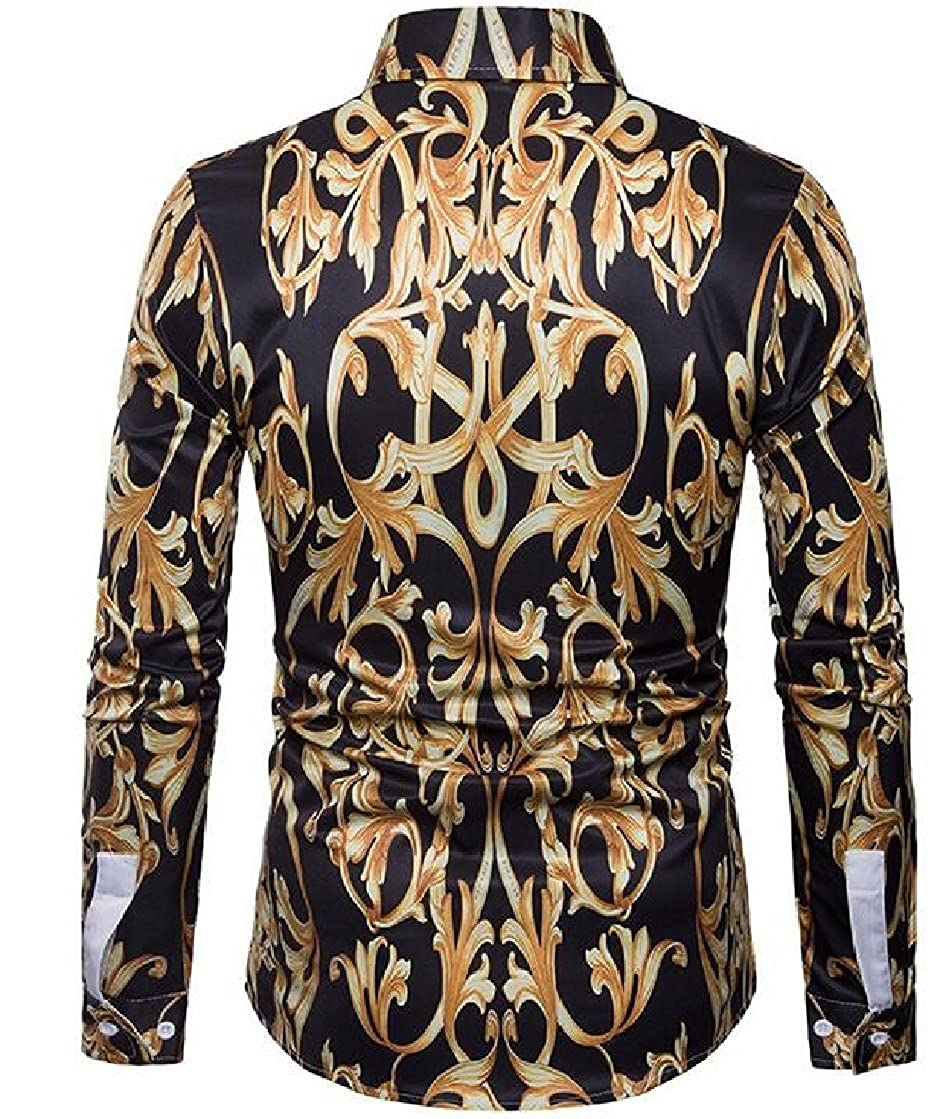lovever Men Classic Floral Printed Standard-Fit Lapel Long Sleeves Business Premium Shirt
