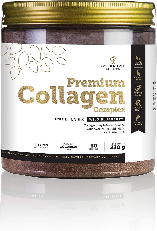 Golden Tree Premium Complejo de Colágeno en Polvo, 330g, 30 Porciones, 4 Tipos de Colágeno