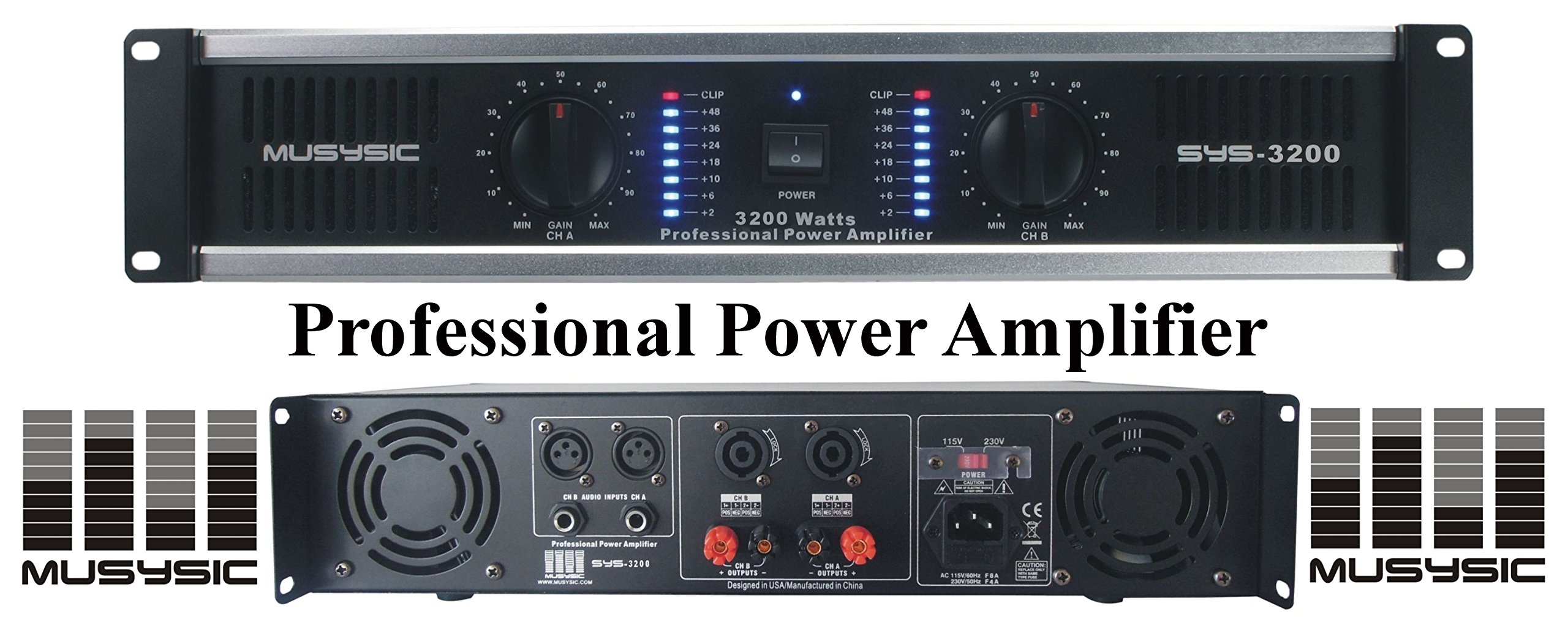 MUSYSIC 2 Channel 3200 Watts DJ PAProfessional Power Amplifier 2U Rack mount SYS-3200 by MUSYSIC