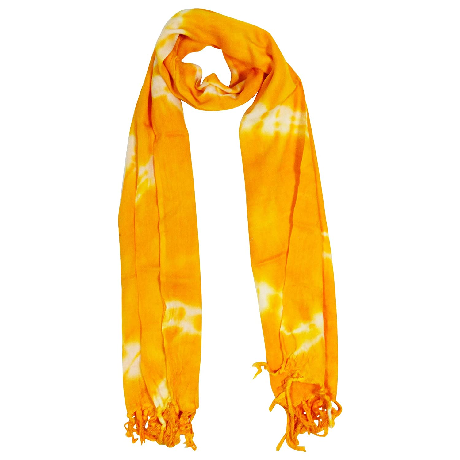 Yellow and White Tiedye Rectangle Women's Hijab Scarf with Tassles