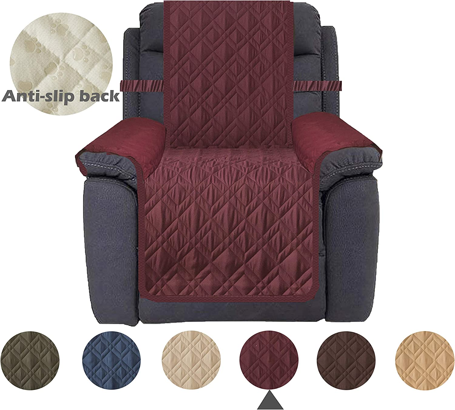 Ameritex Waterproof Nonslip Recliner Cover Christmas Decor Stay in Place, Dog Couch Chair Cover Furniture Protector, Ideal Loveseat Slipcovers for Pets and Kids (Pattern1:Burgundy, Recliner)
