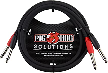 10/' Dual Cable 1//4 Mono Male to 1//4 Mono Male Pig Hog
