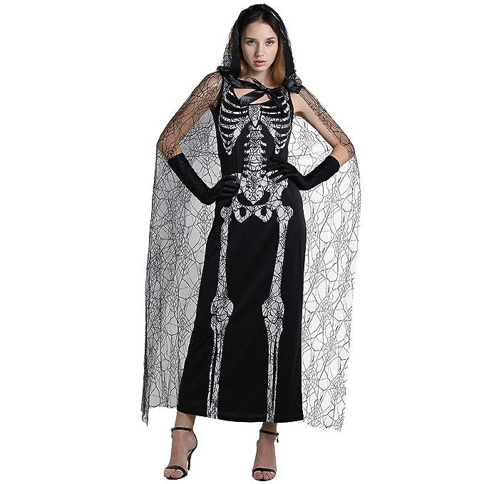EraSpooky Scheletro Ragnatela Donna Halloween Costume  Amazon.it   Abbigliamento fd72983bd2f9