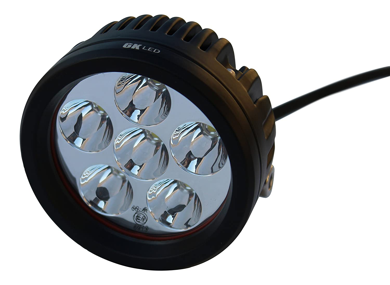6KLED Off Road Round LED Work Light, Automotive Lamp ATV UTV Motorcycle Trailer, Bowfishing Boat, Tractor Bike Spot Pencil Beam Auxiliary Light, 2 Pack