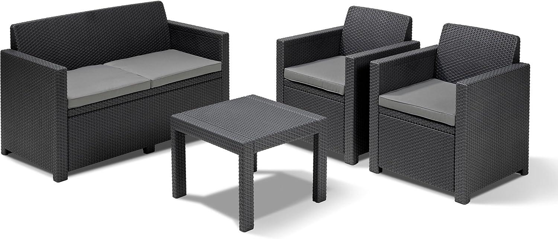 Conjunto de muebles de jardín Keter Allibert con sofá, 2 sillones y mesita: Amazon.es: Jardín