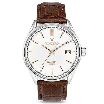 bd5be452c23 Montre bracelet de luxe Vincero Kairos pour homme - Cadran blanc avec  bracelet de montre en