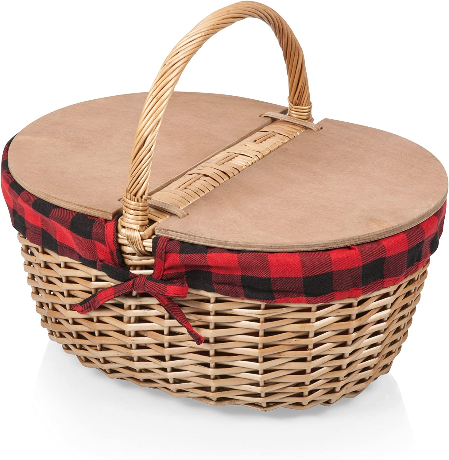 Picnic Time Country Picnic Basket with Liner, Red/Black Plaid