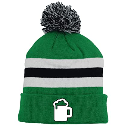 228bfc2f417ccc Image Unavailable. Image not available for. Color: Chirp! St. Patrick's Day  Irish Beer Guzzler Cuff Pom Knit Hat